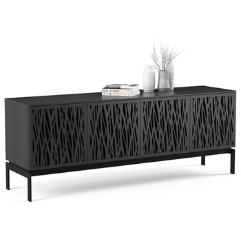 "BDI Elements 8779-CO Audio Cabinet TV Stand up to 85"" TV's in Charcoal Stained Ash color and Wheat Patterns doors."
