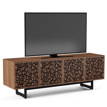 "BDI Elements 8779-ME Audio Cabinet TV Stand up to 85"" TV's in Natural Walnut color and Mosaic Patterns doors."
