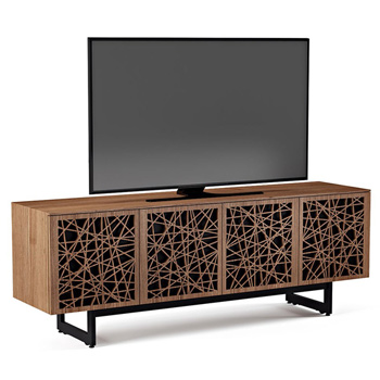"BDI Elements 8779-ME Audio Cabinet TV Stand up to 85"" TV's in Natural Walnut color and Ricochet Patterns doors."