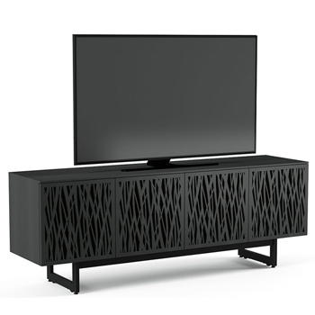 "BDI Elements 8779-ME Audio Cabinet TV Stand up to 85"" TV's in Charcoal Stained Ash color and Wheat Patterns doors."