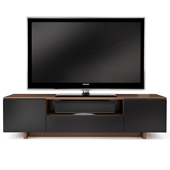 "BDI Nora 8239 TV Stand up to 82"" Flat Panel TVs in Natural Walnut color."