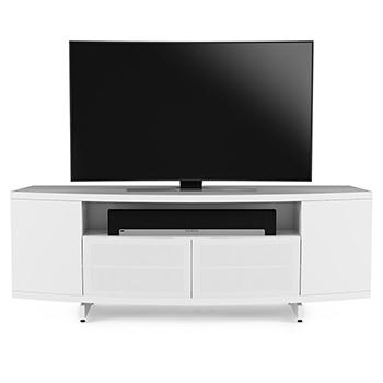 "BDI Sweep 8438 TV Stand up to 84"" Flat Panel TVs in Smooth Satin White color BDI-Sweep-8438-white"