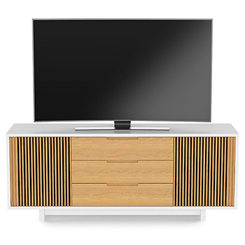 "BDI Vertica 8558 TV Stand up to 80"" Flat Panel TVs in Satin White / White Oak Color. BDI-Vertica-8558-White"