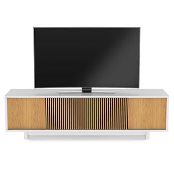 "BDI Vertica 8559 TV Stand up to 82"" Flat Panel TVs in Satin White / White Oak Color. BDI-Vertica-8559-White"