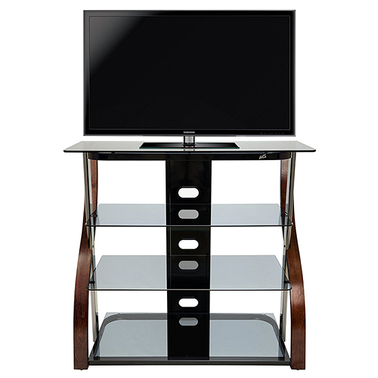 Bello CW340 Curved Wood TV Stand in Vibrant Espresso Finish up to 42