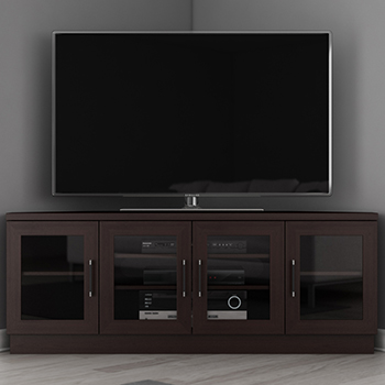 "FURNITECH FT60CCNC TV STAND MEDIA CONSOLE UP TO 65"" TV'S IN DARK BROWN FINISH. furnitech-ft60ccw"