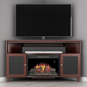 "Furnitech FT61SCCFB – 61"" Shaker Style TV Corner Console with 25"" Electric Fireplace in Dark Cherry. Furnitech-FT61SCCFB"