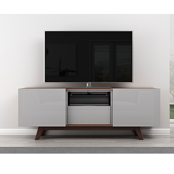 "Furnitech FT70R TV Stand Media Console for Flat Screen up to 73"" TVs in Walnut Finish. Furnitech-FT70R"