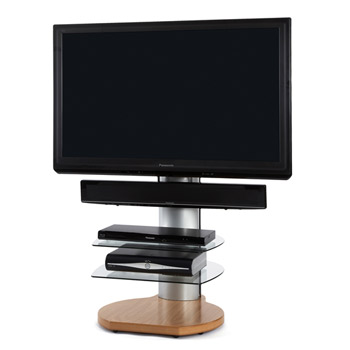 "Off The Wall Origin TV Stand up to 32"" - 55"" TVs in Silver with Oak finish and clear glass."