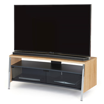 "Off The Wall Tangent 1300 TV Stand up to 55"" TVs in Oak finish. off-the-wall-tangent-oak"