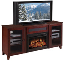 "Furnitech FT70SCFB – 70"" Shaker Style TV Console with 25"" Electric Fireplace in Dark Cherry. Furnitech-FT70SCFB"