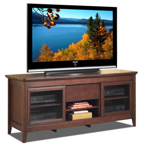 Tech craft ncl62 walnut finish with sliding door credenza for Tech craft tv stands