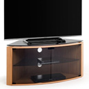 "Techlink Bench B6LO TV Stand up to 55"" TVs in Light Oak with Smoked Glass finish."