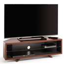 "Techlink Dual Corner DL115WSG TV Stand up to 55"" TVs in Satin Walnut/Satin Grey color."