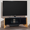 "Techlink Facet FTP100LO Corner TV Stand up to 50"" TVs in Light Oak."