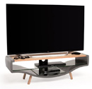 "Techlink KV120GLO TV Stand up to 60"" TVs in Gloss Grey with Light Oak veneer."