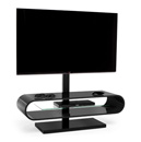 "Techlink Ovid OV120TVB TV Stand with TV Mount up to 60"" TVs in Black color and Black base."
