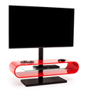 "Techlink Ovid OV120TVR TV Stand with TV Mount up to 60"" TVs in Red color and Black base."