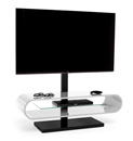 "Techlink Ovid OV120TVWT TV Stand with TV Mount up to 60"" TVs in White color and Black base."