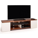 "Techlink Trio TR165WCR TV Stand up to 80"" TVs in Walnut & Satin Cream finish."