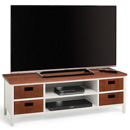 "Techlink Wicker WK120W TV Stand up to 60"" TVs in Walnut & Cool Grey finish."