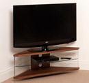 "Techlink Air AI110WC Corner TV Stand up to 46"" in Walnut Veneer with Clear Glass."