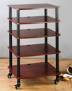VTI AR 405 - 5 Shelf Audio Rack with Black Poles and Cherry Shelves. VTI-AR405BC