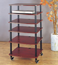 VTI AR 406 - 6 Shelf Audio Rack with Black Poles and Cherry Shelves. VTI-AR406BC