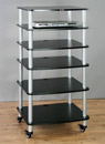 VTI AR 406 - 6 Shelf Audio Rack with Gray Silver Poles and Black Shelves. VTI-AR406SB