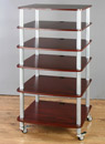 VTI AR 406 - 6 Shelf Audio Rack with Gray Silver Poles and Cherry Shelves. VTI-AR406SC