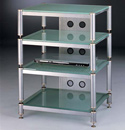 "VTI BLG 404 - 4 Shelf Audio Rack TV Stand with Gray Silver Poles and Frosted Glass up to 27"" TVs. VTI-BLG404SSF"