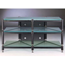 "VTI 503 - 3 Shelf TV Stand in Black Poles and Frosted Glass up to 50"" TVs. VTI-BLG503BF"