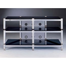 "VTI 503 - 3 Shelf TV Stand in Gray Silver Poles and Black Glass up to 50"" TVs. VTI-BLG503SSB"