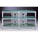 "VTI 503 - 3 Shelf TV Stand in Gray Silver Poles and Frosted Glass up to 50"" TVs. VTI-BLG503SS"