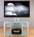 "VTI HFR 403 TV Stand with Gray Silver Frame and Frosted Glass up to 55"" Flat Panel TVs. VTI-HFR403SF"