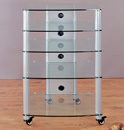 VTI NGR405SW - 5 Shelf Audio Rack with Gray Silver Poles and Clear Glass. VTI-NGR405SW