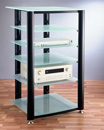 TI HGVR406 - 6 Shelf Audio Rack with Black Poles and Frosted Glass. VTI-NGR406BF