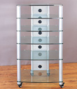 VTI NGR406SW - 6 Shelf Audio Rack with Gray Silver Poles and Clear Glass. VTI-NGR406SW