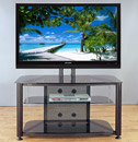 "VTI RFR 403 TV Stand with Black Frame and Black Glass up to 55"" TVs. VTI-RFR403BB"