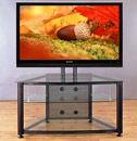 "VTI RFR 403 TV Stand with Black Frame and Clear Glass up to 55"" TVs. VTI-RFR403BW"