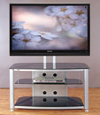 "VTI RFR 403 TV Stand with Silver Gray Frame and Black Glass up to 55"" TVs. VTI-RFR403SB"