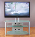 "VTI RFR 403 TV Stand with Silver Gray Frame and Frosted Glass up to 55"" TVs. VTI-RFR403SF"