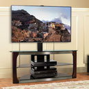 "Bello TPC2133 Universal Flat Panel TV Stand with Swivel TV Mounting up to 60"" TVs in Dark Espresso finish. Bello-TPC2133"