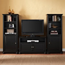 "Crosley KF100007ABK Alexandria 42"" TV Stand and Two 60"" Audio Piers in Black Finish. Crosley-KF100007ABK"