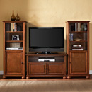 "Crosley KF100007ACH Alexandria 42"" TV Stand and Two 60"" Audio Piers in Classic Cherry Finish. Crosley-KF100007ACH"