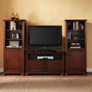 "Crosley KF100007AMA Alexandria 42"" TV Stand and Two 60"" Audio Piers in Vintage Mahogany Finish. Crosley-KF100007AMA"
