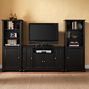 "Crosley KF100008ABK Alexandria 48"" TV Stand and Two 60"" Audio Piers in Black Finish. Crosley-KF100008ABK"