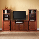 "Crosley KF100008ACH Alexandria 48"" TV Stand and Two 60"" Audio Piers in Classic Cherry Finish. Crosley-KF100008ACH"