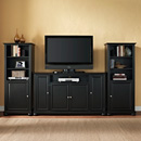 "Crosley KF100009ABK Alexandria 60"" TV Stand and Two 60"" Audio Piers in Black Finish. Crosley-KF100009ABK"