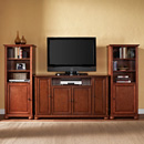 "Crosley KF100009ACH Alexandria 60"" TV Stand and Two 60"" Audio Piers in Classic Cherry Finish. Crosley-KF100009ACH"